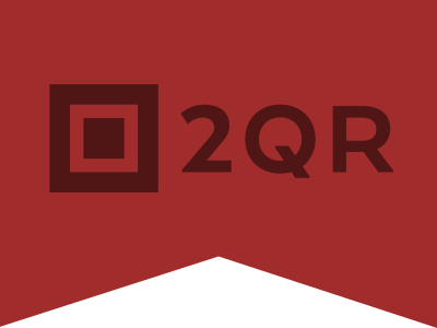 2QR.info Logo qr ribbon square red typo logo