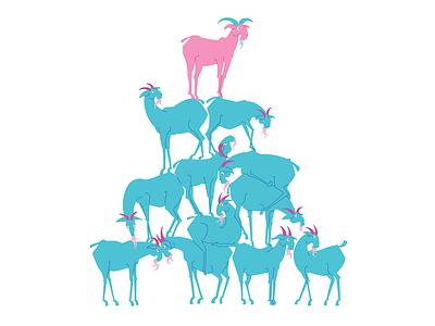 A Pile of Goats goat illustraion