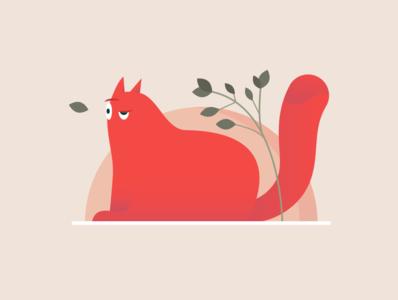 We all feel like a cat sometimes cat pink green adobe nature 2d design illustrator illustration art vector illustration