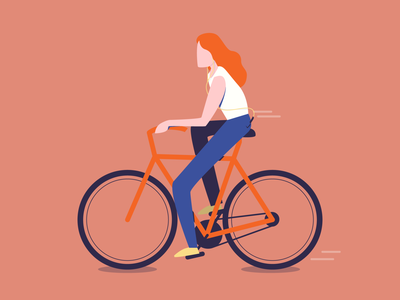 Biking Girl music woman girl bike 2d design illustrator illustration art vector illustration