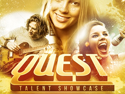Quest Church Concert Flyer Template 3d Bright Christian Talent Conference Contemporary Creative Designs