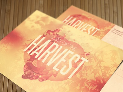 Lord of the Harvest Church Postcard Template layered loswl mailer maple marketing orange postcard psd pumpkin season sermon thanksgiving
