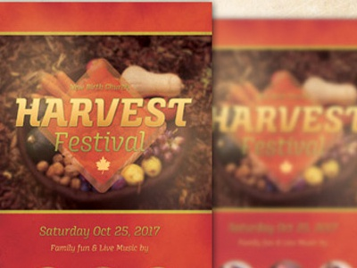 Harvest Festival Church Flyer Template artwork flyer designs harvest inspiks loswl maple orange picnic psd flyer pumpkin season thanksgiving