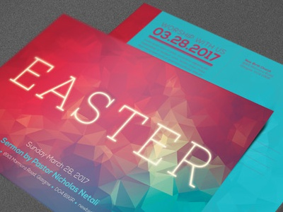 Modern Easter Church Flyer Template sermon risen resurrection sunday resurrection psd flyer postcard mailer loswl light jesus invitation