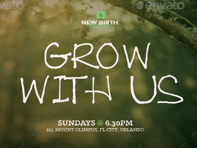 Grow With Us Church Flyer Template template sermon postcard photoshop pastor graduation marketing mailer layered invite history grow grand opening