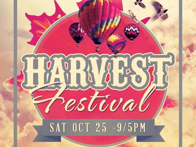 Harvest festival flyer template 400x300