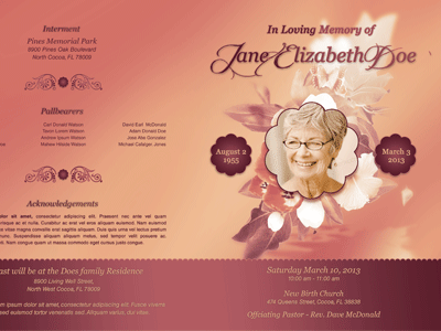 Funeral Program Template 001 400x300  Free Memorial Program Templates