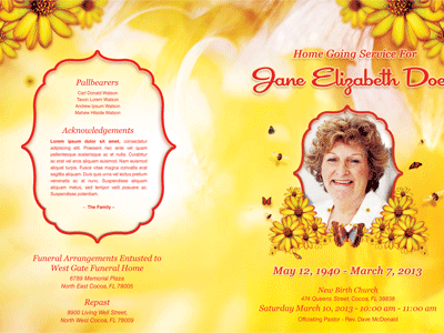 Bountiful Life Funeral Program Template 002