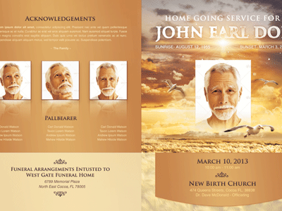 Heavens Gift Funeral Program Template 004