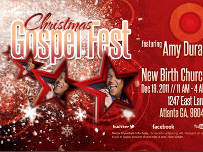 Christmas gospel fest church flyer template 400x300