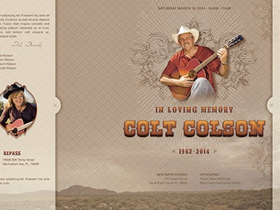 Singing Cowboy Funeral Program Template 012