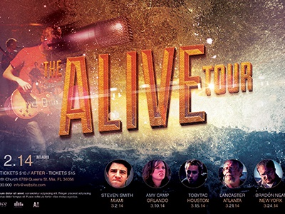 Alive Church Concert Flyer Template Event Gospel Resurrection