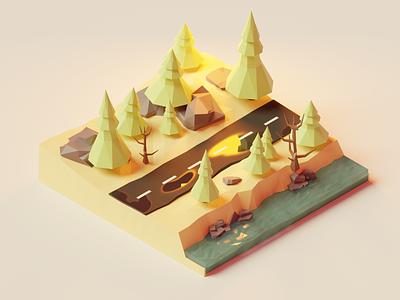 3D Forest 3d forest design 3dmodel model lowpoly3d lowpoly 3d art blender 3d polygonrunway 3d blender
