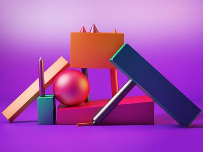 Balanced objects colors colorful objects shapes cinema4d c4d 3d ilustration 3d illustration design