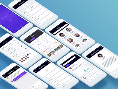 Social app events users profile mockup native light social mobile ios app ux ui