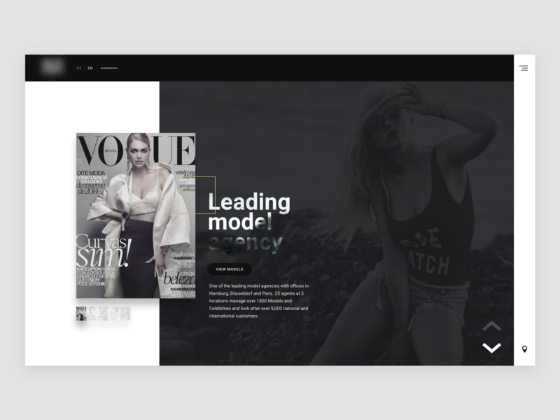 Model agency typography icon website modern web homepage clean layout ux design ui