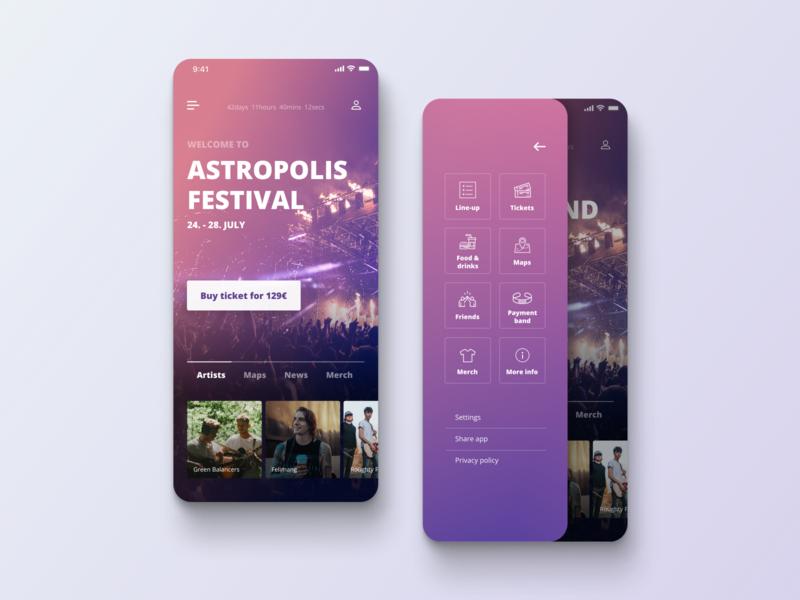 Festival Guide App Concept uidesigns uidesign festival guide festival app festival app design design app ui ui design