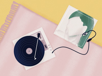 Positions by Ariana Grande headphones rug musice turntable record player vinyl ariana grande illustration