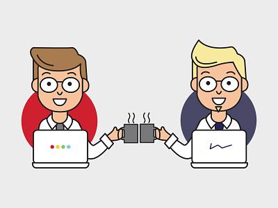 Partnership Graphic digital marketing cheers partnership partner computer vector illustration design branding