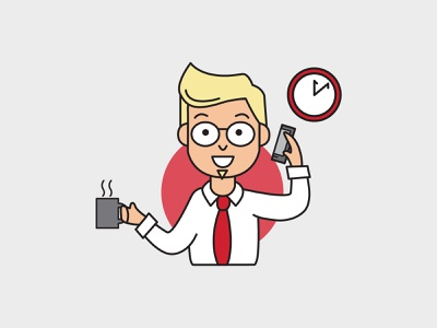 Business Owner Graphic coffee working professional owner business phone marketing computer vector illustration design branding