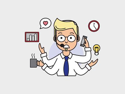 Multitasking Graphic digital marketing multitasking owner business marketing computer vector illustration design branding