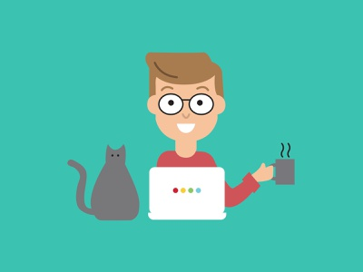 Work from Home Graphic designer coffee cat home work workfromhome marketing computer vector illustration design branding