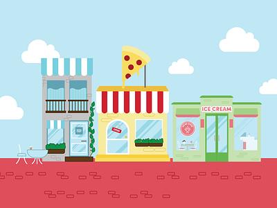 Restaurant Storefront Graphic coffee icecream pizza flatgraphic owner business marketing vector illustration design branding