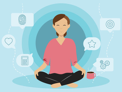 Relaxation Graphic relax meditation coffee 5 stars review marketing business marketing vector illustration design branding