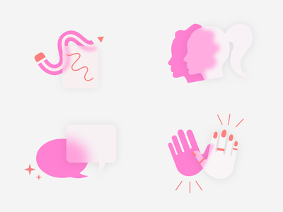 Frosted glass icons_ Ladies at work women branding icon vector illustration ui design