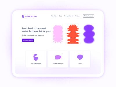 Mental Health website - Online therapy online therapy therapy mental health mental health awareness health ui illustration app web branding icon logo healthcare health app