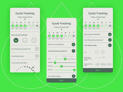 Daily Log - Cycle Tracking women health health healthcare health app ui design