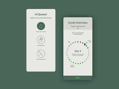 Menstrual Cycle tracker app flat minimal design branding health healthcare health app typography ui