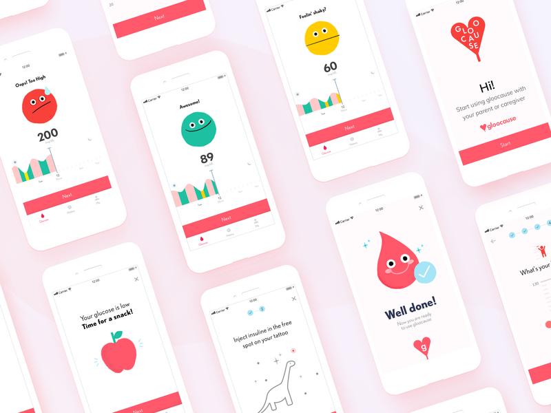 Healthcare app Gloocause - Steps ui ux illustrator illustration branding ux  ui ux design positive tech health diabetes children child care healthcare app health app design