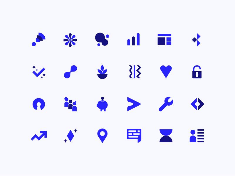 Polidea's Icons Set . Part 1 iconography icon design icon set approachable geometic rebranding icons branding design