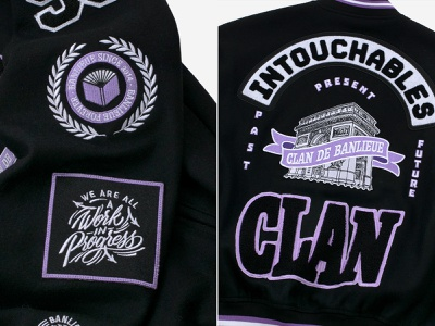 Banlieue Wool Varsity Jacket - Graphics fashion brand fashion embroidered patch embroidery patches wool clandebanlieue banlieue varsity logo typography handlettering