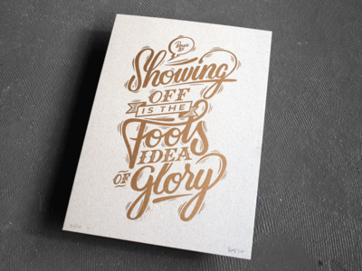 Letterpress poster A3 'Showing off' brush lettering calligraphy typography collaboration poster handlettering letterpress