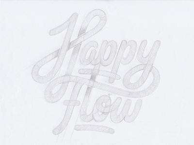Happy Flow Logodesign stationery customlettering happyflow script handlettering logodesign