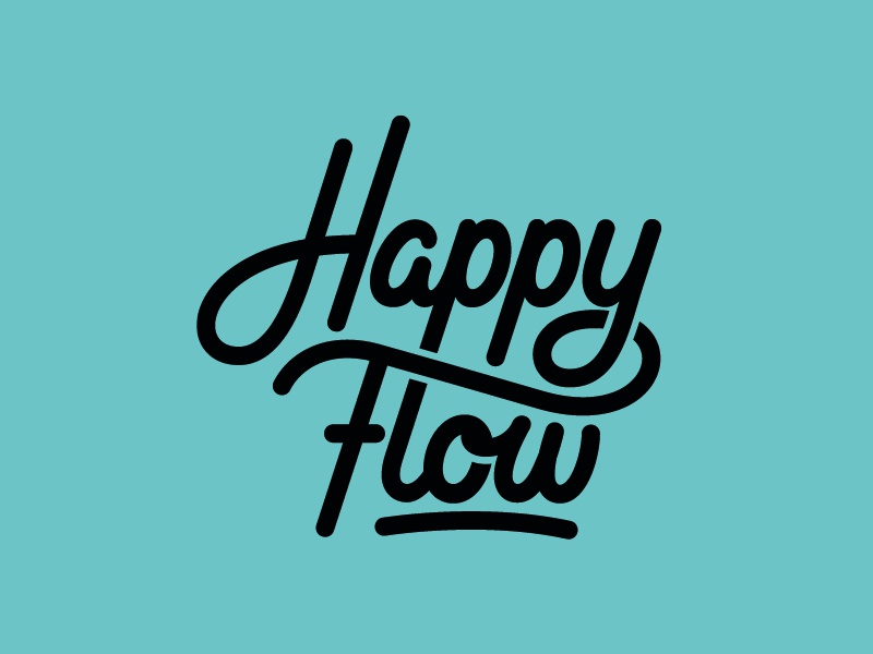 Happy Flow Logodesign stationery customlettering happyflow script handlettering logodesign