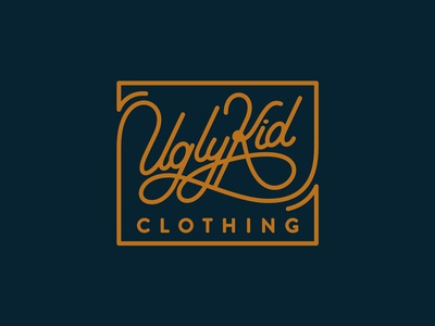 Ugly Kid Clothing: LABEL LOGO handlettering teedesign tshirt tee custom typography logo sign script uglykidclothing