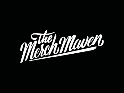 The Merch Maven logo design brushscript script handlettering thmerchmaven logodesign