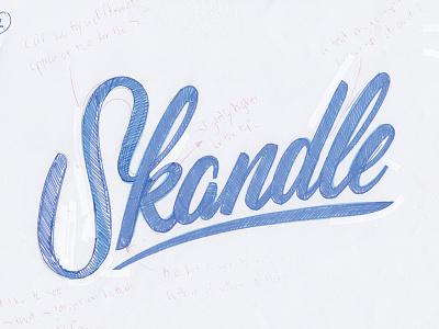 Logo design for Skandle brushscript logo handlettering script skandle skull logodesign