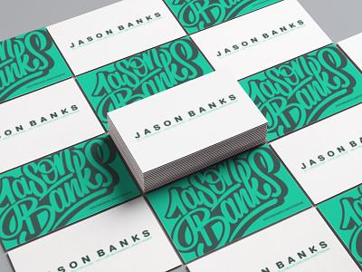 Jason Banks logo brushlettering script handettering dj businesscard logo