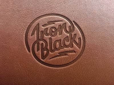 Iron Black logo design handlettering leather mockup black iron design logo