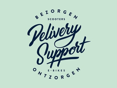 Delivery Support logo & stationery script handlettering stationery logo