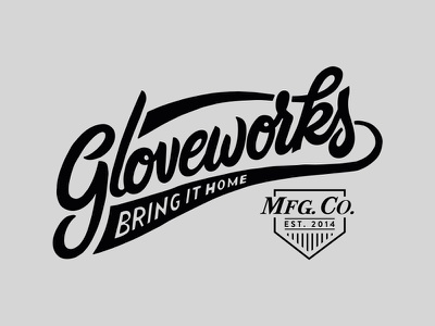Gloveworks Logo design leather handlettering glove custom gloveworks design logo