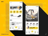 The homepage of shoes app