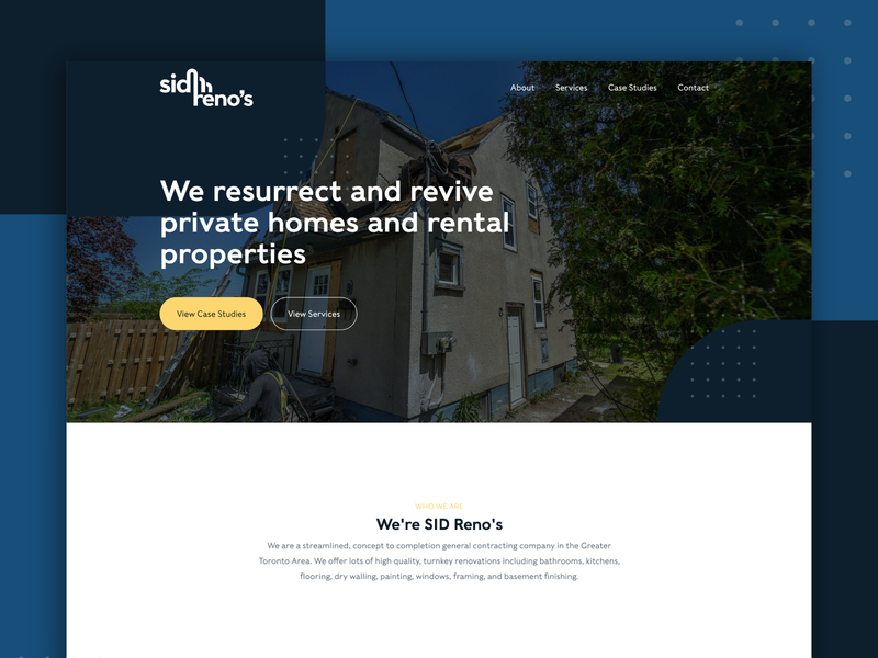 Sid Reno's - Renovation Company Website Design renovations renovate renovation brand identity brand design webdesign website website design web site web development web designer web design homepage design home page design branding adobe xd