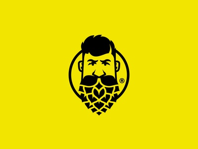 Brewery Guy poland branding logo mustache guy face beard hops hop beer craft brewery