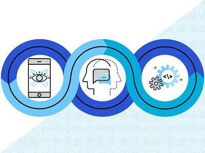 App Dev White Paper user data and experience appdesign qa ux brand vector illustration halftone appdevelopment roadmap white paper