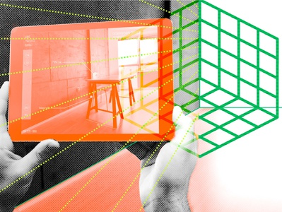 5 Ways Vr And Ar Cut Costs For Architects illustration halftone digitalcollage augmentedreality virtualreality 3dmodeling
